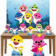 Baby Shark Kit Festa Display Mesa E Chão + Painel Lt022p1