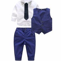 Conjunto Traje Formal Para Bebé Niño Chaleco Camisa Corbata