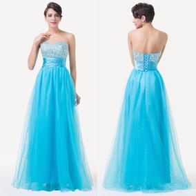 Vestido Azul Acqua Grace Karin Moda Ampón Pedrería Oferta