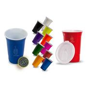 Paquete 50 Vasos Reusables Redcup 16oz Doble Pared Con Tapa