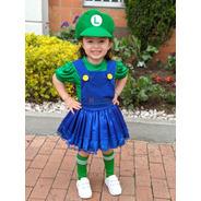 Disfraz Luigi O Mario Niña Disfraces Mario Bros Traje Niñas