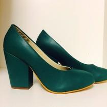 Sapato Salto Quadrado Verde Em Promoção