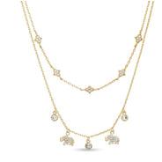 Collar Doble De Plata 925 Dorada Con Elefantes Mod. Psn004