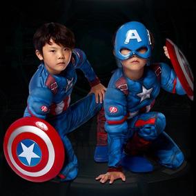 2018 Disfraz Musculoso Capitán América Con Máscara Iluminada