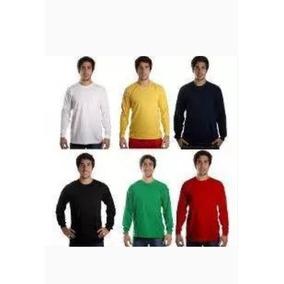 Camisa Manga Longa Lisa 100% Algodão - Atacado Sem Estampa