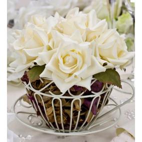 Arranjo Flores Centro Mesa Festa Casamento Cor Neutra