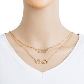 Collar Doble Infinito 2 Collares Dorado Casual Accesorios