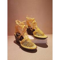 Zapatos Tejidos A Mano Para Mujer Talla 5 Color Amarillo