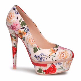 Hermosas Zapatillas Andrea Pump Floreadas Rosas 14859