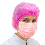 Máscara Descartável Tripla Elástico Rosa - Cx C/ 50 Un
