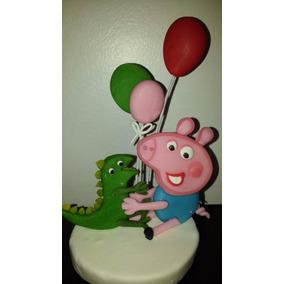 Adorno Pepa Pig Con Globos Y George 2d Porcelana Fria