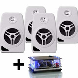 Kit Som Ambiente 4 Caixa Acustica Branca C/ Amplificador