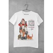 Camiseta Gatos Me Fazem Feliz - Unissex - Cor Branca