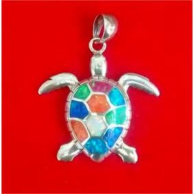 Dije De Tortuga En Plata .950 Con Opalos De Colores