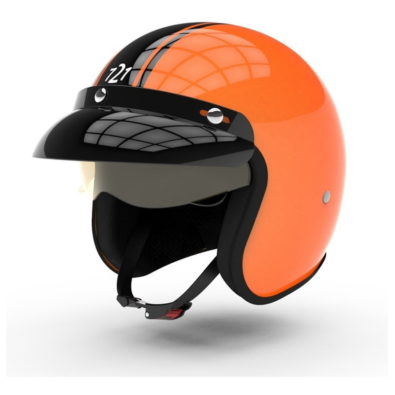 Casco Hawk 721 Challenge Abierto Cafe Race Negro Sunset Fas