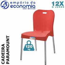Cadeira Plastico Polipropileno Alumínio Paramount Vermelho