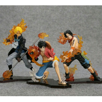 Set 3 Action Figures One Piece - Luffy, Ace E Sabo Na Caixa