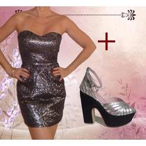 Vestido De Fiesta Importado + Sandalias De Cuero