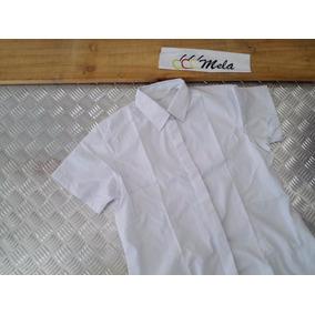 Camisa D Dama Manga Corta Para Uniformes Chambray Blanca T-s