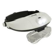 Lupa Binocular Manos Libres Doble Luz Led 5 Lentes Intercamb