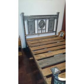 Cama De Bronce Antigua De 2`plazas Elastico De Pinotea