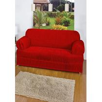 Capa De Sofá 3 Lugares - Elasticada- Vermelho
