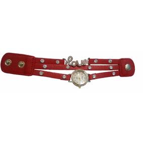 Relógio De Pulso Analógico, Bracelete Vermelho Love - Barato