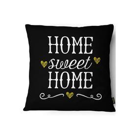 Capa Para Almofada Home Sweet Home 43x43cm Preta