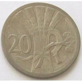 Chekoslovaquia Moneda 20 Haleru 1928 Km # 1