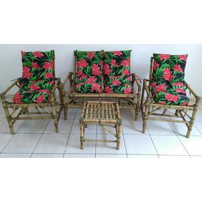 Jogo De Vime/bambu Artesanal/poltronas/cadeiras/almofadas