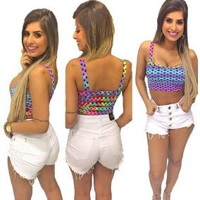Shorts Hot Pants Disco Destroy Cintura Alta Com Botão Branco b694516f52b4f