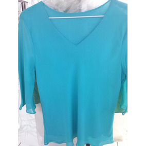 Camisa Bata Azul Chiffon 108x66cm Moda Evangélica