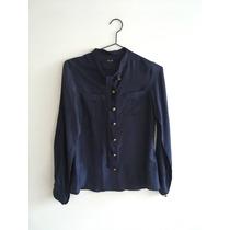 Camisa Lupe De Seda Color Azul - Impecable, Sin Uso!