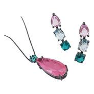 Conjunto Gotas Oval Quadrado Colar Brincos Earcuff Rosa Azul