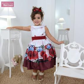 Vestido Infantil Floral Com Rosas Vermelhas E Pássaros
