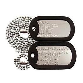 2 Placas De Identificación Militar Acero Inox Silenciador