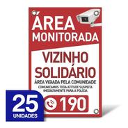 Placa Vizinho Solidário - Pvc 1mm - 25 Unidades - 20x30cm