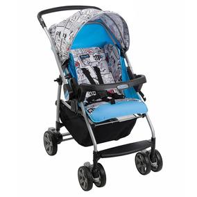 Carrinho De Bebê Rio K Azul Grafitado Reclinável - Burigotto