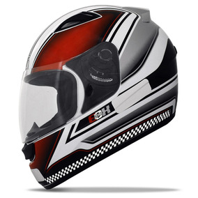 Capacete Ebf Moto E0x Azurra Esportivo Branco Vermelho