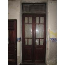Puerta Pinotea De Dos Hojas Con Vidrio Repartido Con Marco