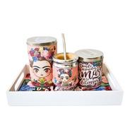 Kit Bandeja Desayuno Mate Yerbera Y Azucarera Frida Kahlo