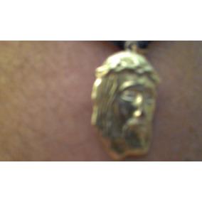 Pingente De Ouro 18 Kl Face De Cristo C/3 Brilhantes 3 Cm.