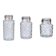 Set De 3 Frascos De Vidrio Hermetico Diseño Gallo
