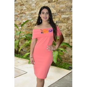 Vestido Campesino Stretch Bordado Punto Cruz_cfk1023460