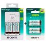 Carregador Sony + 4 Pilhas Aa 2500mah + 4 Aaa 900mah Palitos