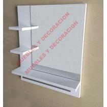 Repisa Con Espejo Y Porta Toalla Para Baño Minimalista
