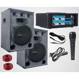 Bafle X 2 Amplificador Con Usb Bluetooth 10 Entradas Dancis