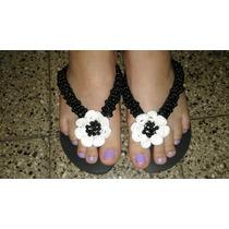 Ojotas Bordadas Con Flores De Crochet