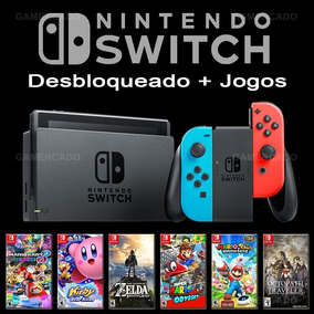 Nintendo Switch Desbloqueado 32gb + 32 Jogos + Sd 64 Gb