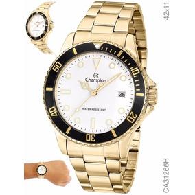 Relógio Masculino Dourado Banhado A Ouro 1 Ano De Garantia